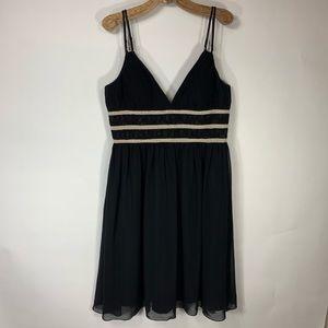 WHBM Black Chiffon Dress sz 14 Holiday Cocktail